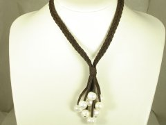 Brown Suede Necklace with Fresh Water Pear