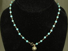 Matte Turquoise Color Link Necklace